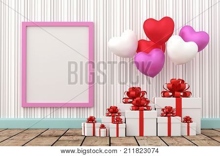 A photo of White gift box with balloon heart sharp and Blank wood board for copy space 3D renderring with blender freeware