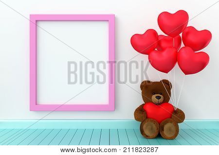 A photo of Teddy bear holding balloon heart sharp with blank board for copy space 3D render with blender freeware
