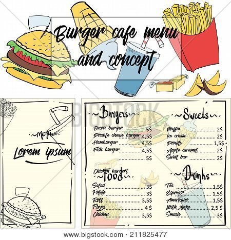 А concept menu for a fast food restaurant or cafe. Design template with hand-drawn graphic illustrations.