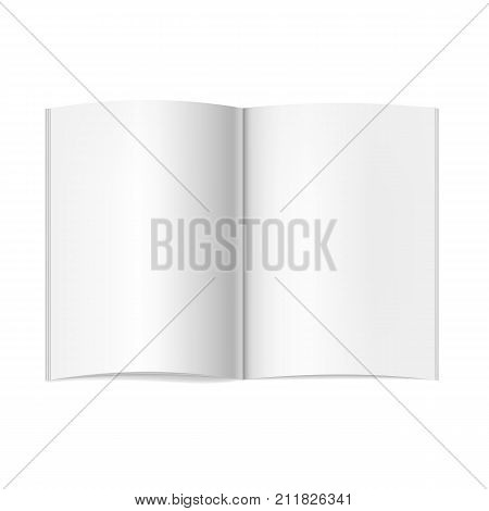 Vector realistic opened book journal or magazine mockup with sheet of A4. Blank open pages of sketchbook or notebook template for catalog brochure design