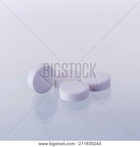 Paracetamol Medicine Tablets On A White Background