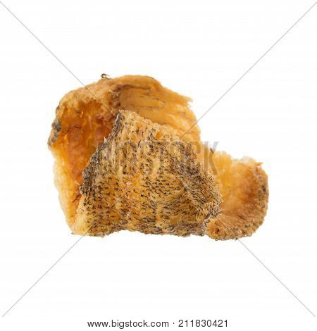 Fried Trichogaster Pectoralis Cut In Slice Fry For Crispy, Fish Thai Food Isolated On White Backgrou