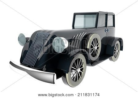 Old Style Black Car Over White Background