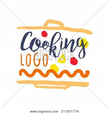 Colorful funny logo, label design for cooking food. Handwritten lettering, abstract emblem for cooking club, culinary school, food studio or home kitchen. Cuisine background. Vector isolated on white.
