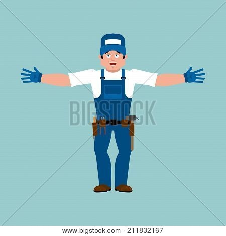 Plumber Happy. Fitter Merry. Service Worker Serviceman Cheerful. Vector Illustration
