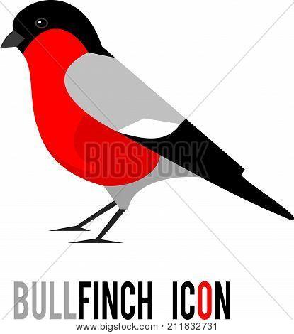 Bullfinch (Pyrrhula pyrrhula, Eurasian Bullfinch) bird icon isolated on white background. Design element for your logo. Christmas symbol. Vector illustration
