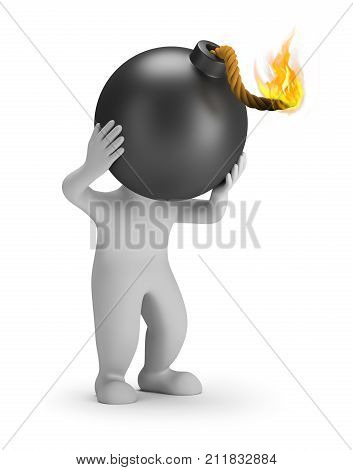 3d small person with a bomb head. 3d image. White background.