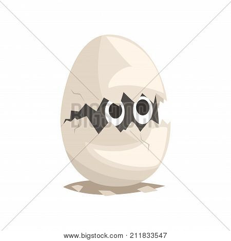 Funky gray newborn in broken egg shell. Baby animal hatching from egg. Little cub creature life. Flat cartoon tiny pet character birthday. Cute youngling emoji vector illustration isolated on white.
