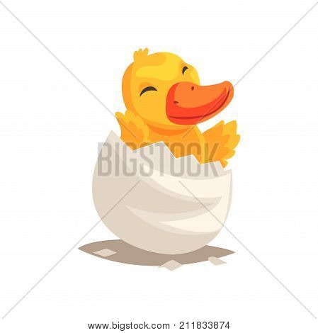 Cheerful newborn yellow duckling in broken egg shell. Baby duck hatching from egg. Little creature life. Flat cartoon tiny pet character birthday. Adorable emoji vector illustration isolated on white.