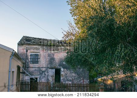 Old House With Dilapidated Roof. Corfu. Greece.