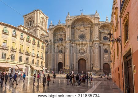 GRANADA,SPAIN - OCTOBER 3,2017 - View at the South portal Cathedral of Granada at Pasiegas place. Granada is located at the foot of the Sierra Nevada mountains.