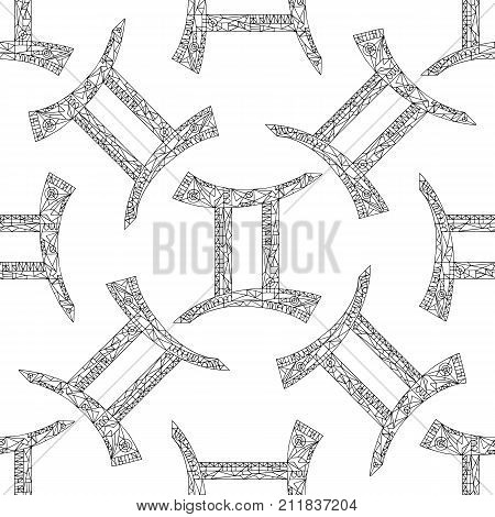 Gemini zodiac sign. Vector hand drawn horoscope pattern. Astrological abstract seamless background.