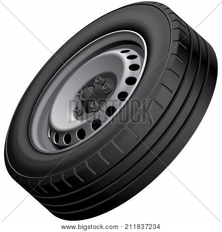 High quality vector illustration of typical automobiles wheel with pressed steel disc isolated on white background. File contains gradients blends and transparency. No strokes.