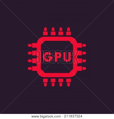 GPU icon, graphic chipset, eps 10 file, easy to edit