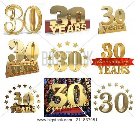 Set of number thirty years (30 years) celebration design. Anniversary golden number template elements for your birthday party. 3D illustration