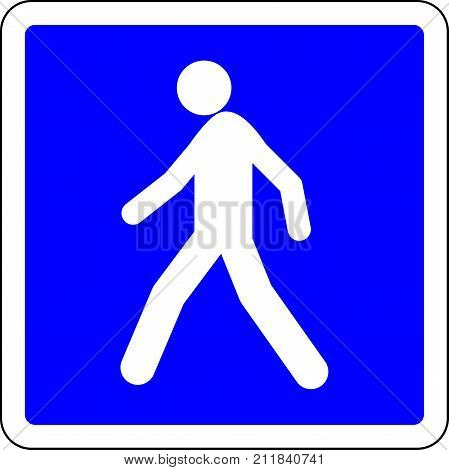 Pedestrian allowed blue road sign on white background