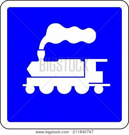 Train allowed blue road sign on white background
