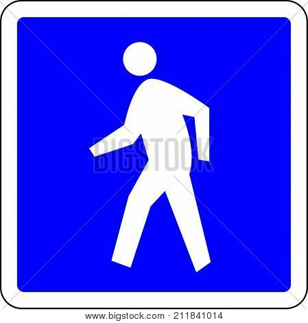 Pedestrian allowed blue road sign on white backgrond