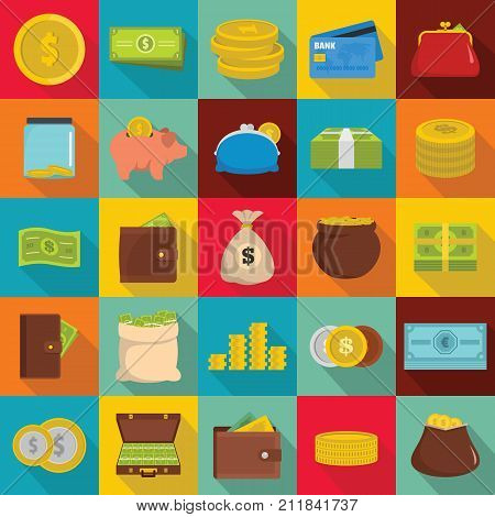 Money icons set. Flat illustration of 25 money vector icons for web