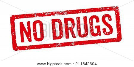 A Red Stamp On A White Background - No Drugs
