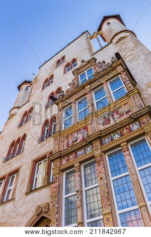 Facade Of The Historic Tempelhaus Building In Hildesheim