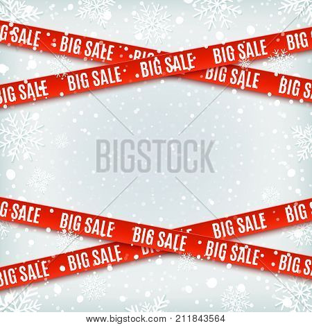 Big sale red banners. Set of warning tapes, ribbons on winter background with snow and snowflakes. Template for brochure, poster or flyer Vector illustration.