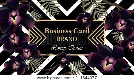 Black orchid flowers card Vector. Beautiful illustration for invitation, wedding, brand book, business card or poster. Place for text