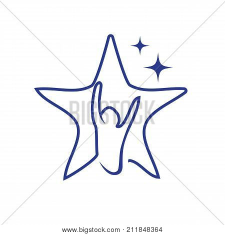 hope star symbol, person raises his hands in outline of star, star symbol, hope symbol, isolated on white background.