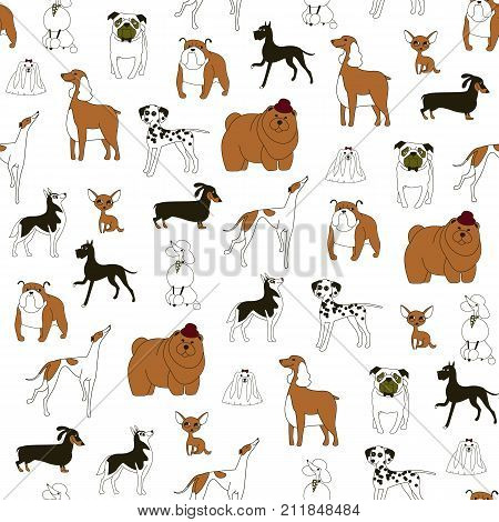 Breeds of dogs Seamless pattern. Minimalism. Dog is a symbol of 2018 on the Chinese calendar. Vector illustration