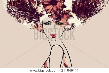 art colorful sketched beautiful girl face in mixed media style with purple, red and orange floral curly hair on sepia background