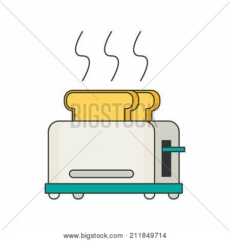 Toaster flat vector icon for web and design