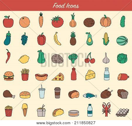 Food and drink icons. Fruits, Vegetables, Fast food and every day food icons. Outline design style. Vector illustration