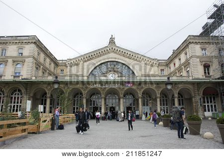 French People And Foreigner Travelers Walking In And Out At Gare De Paris-est Or Paris Gare De L'est