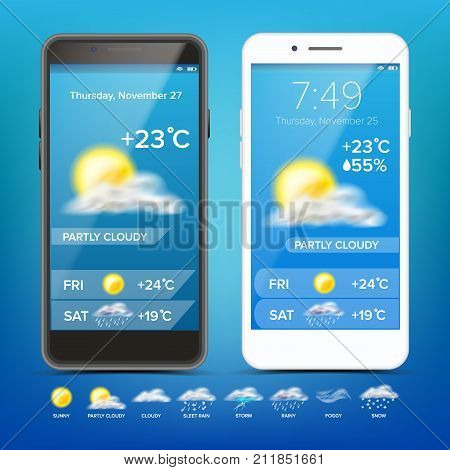 Weather Forecast App Vector. Weather Icons Set. Blue Background. Mobile Weather Application Screen. Illustration