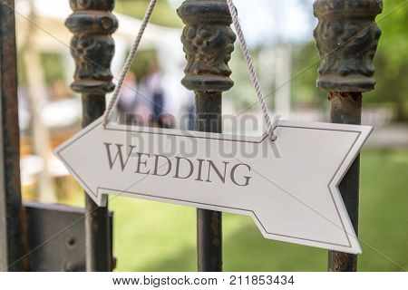 Wooden signboard sign, for the wedding ceremony.