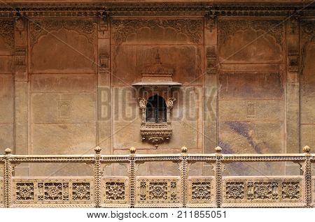 Beautifolu Haveli in Jaisalmer city in India. Rajasthan