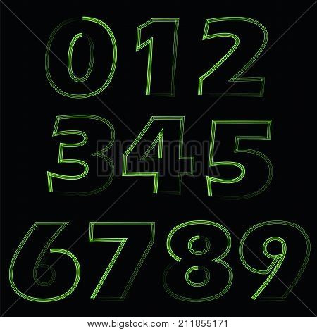 colorful illustration with green numbers on black background