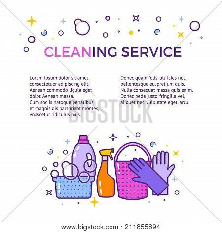 Website header vector template with logo for cleaning service isolated on white.