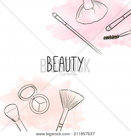 Fashion Beauty Cosmetics Background With Make Up Artist Objects: Make-up Brushes, Eyebrow Brush, Eye