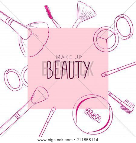 Makeup beauty emblem logo banner with type design and cosmetics. Makeup objects: make up brushes eyebrow brushes eyeshadow blush powder bows Accessories Equipment Beauty Facial Fashion
