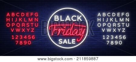 Black Friday sale neon sign, neon banner, background brochure. Bright glowing advertising, sales discounts Black Friday. Vector illustration. Editing text neon sign. Neon alphabet.