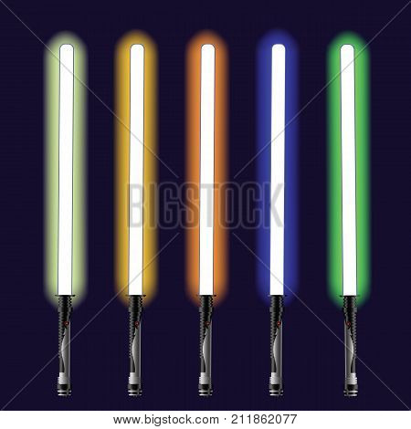 colorful illustration with light sabers on sky background