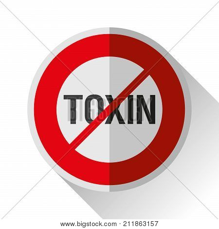 Warning sign, stop toxin icon in flat style, vector design danger illustration for you project