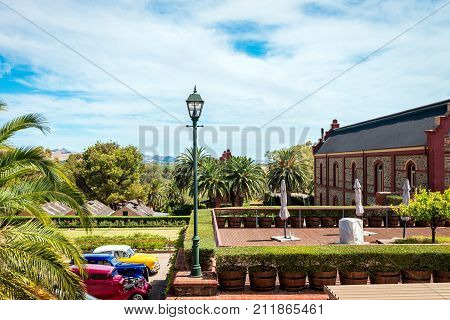 Adelaide Australia - January 16 2016: Chateau Tanunda winery viewed from main entrance. It was established in 1890 in the Barossa Valley and entered on the Register of State Heritage Places