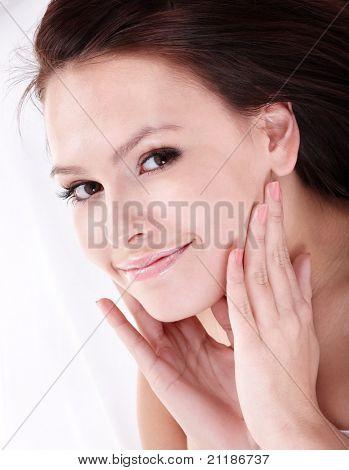 Beautiful girl with false eyelash. Isolated.