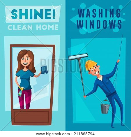 Profesional worker and housewife cleaning windows. Cartoon illustration. Skyscraper cleaning service. Window washer is cleaning high building. Man with bucket of water and scraper.