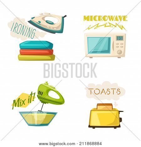 Home electroniscs icons. Cartoon vector illustration. Iron, toaster, microwave and mixer