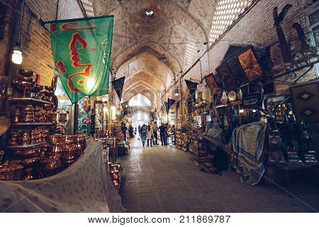 Isfahan, Iran - October 06, 2016: Traditional Iranian Souvenirs In Market (bazaar) In Isfahan, Iran.