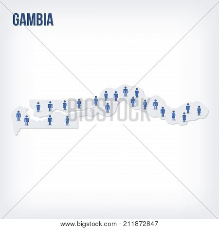 Vector People Map Of Gambia . The Concept Of Population.