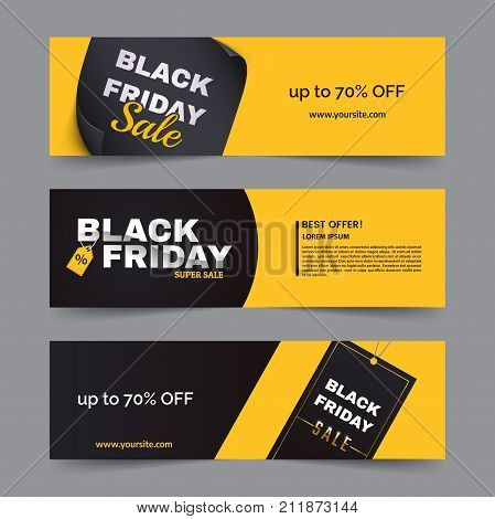 Black friday horizontal banner set. Black friday sale logo on yellow and dark background with geometric shapes. Minimalistic discount flyers. Vector eps 10